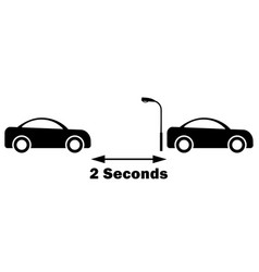 2 seconds rule between car do not tailgate safe vector