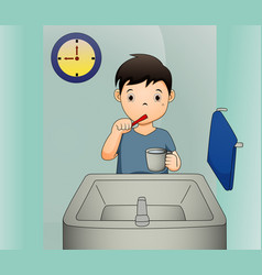a of a boy brushing his teeth vector image