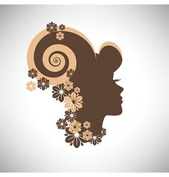 Abstract woman silhouette with floral hair vector