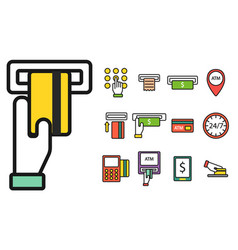 atm pos-terminal with hand credit card icons vector image