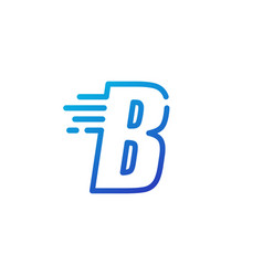B letter dash fast quick digital mark line vector