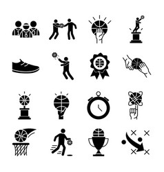 basketball game recreation sport silhouette style vector image