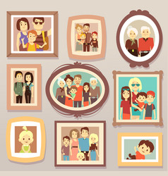 big family smiling photo portraits in frames vector image