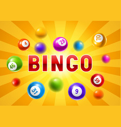 bingo or lottery card with colored number balls vector image