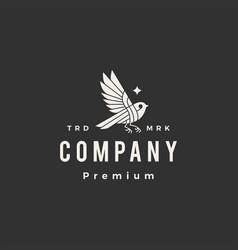 bird star hipster vintage logo icon vector image
