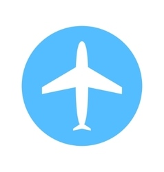 Blue and white flat simple plane icon vector