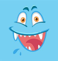 Blue monster facial expression vector