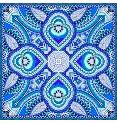 Blue silk neck scarf or kerchief square pattern vector
