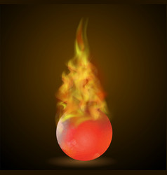 burning red ball on fire flame vector image