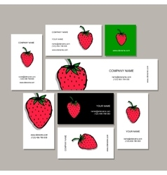 Business cards collection strawberry design vector