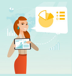 Businesswoman presenting report on tablet computer vector