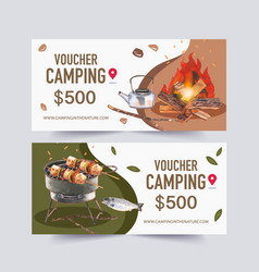 Camping voucher design with kettle campfire vector