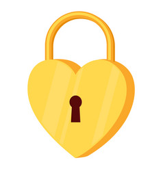 cartoon golden heart padlock vector image