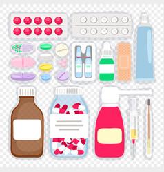 cartoon medicines and pills vector image
