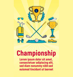 championship concept banner cartoon style vector image