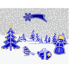 christmas and new year decoration winter vector image