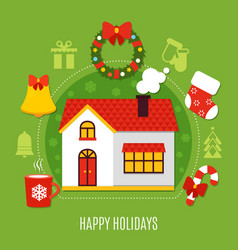 christmas holidays flat composition vector image