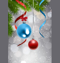 christmas tree branch with colorful balls over vector image