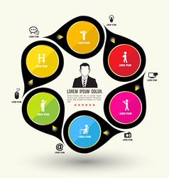 Circle rotate with icons template vector
