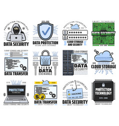 cloud storage internet data security icons vector image