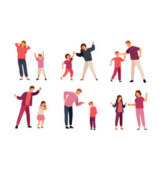 collection of conflicts between parents and vector image