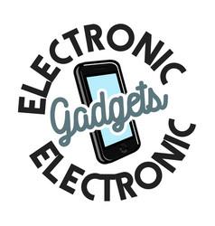 Color vintage electronic gadgets emblem vector