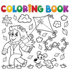 Coloring book with girl and kite vector