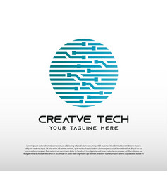 Creative technology logo with globe concept world vector