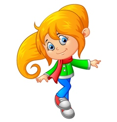 Cute girl cartoon vector