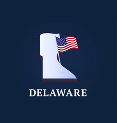 delaware state isometric map and usa natioanl vector image