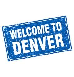 Denver blue square grunge welcome to stamp vector