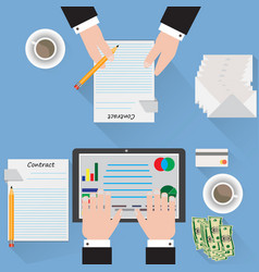 desk signing a contract analyst blue background vector image