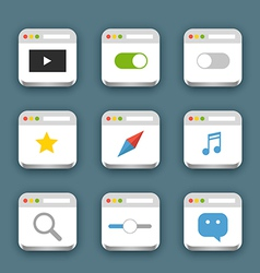 Different web icons set with rounded corners vector image