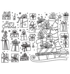 doodle set christmas presents vector image