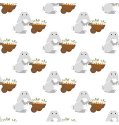 easter bunny with carrots seamless pattern vector image