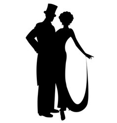 Elegant silhouettes couple wearing retro style vector