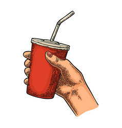 female hand holding paper red cup cola with straws vector image