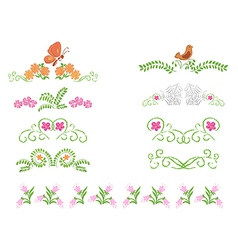 Floral decorative dividers - set vector