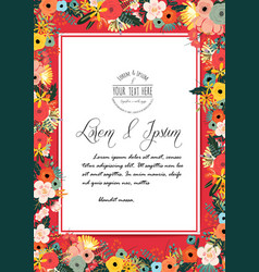 Flowers poster template on red background vector