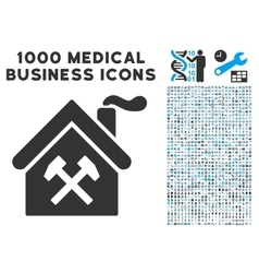 Forge Building Icon with 1000 Medical Business vector