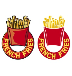 French fries label vector
