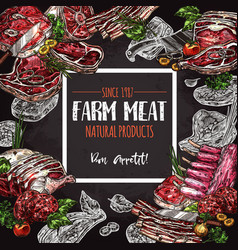 fresh meat farm food chalkboard poster design vector image