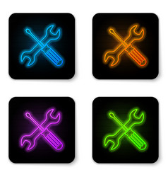 glowing neon crossed screwdriver and wrench tools vector image
