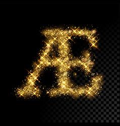 Gold glittering letter ae on black background vector