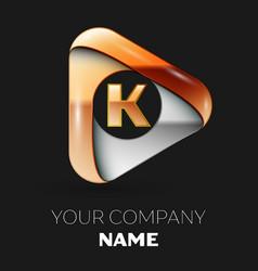 Golden letter k logo in golden-silver triangle vector
