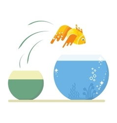 goldfish jumping out vector image