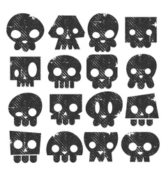 Grunge skull stamps icons vector