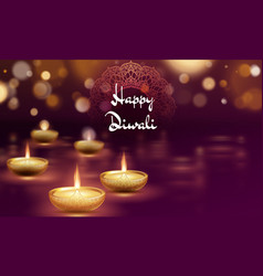 happy diwali diya oil lamp template indian vector image