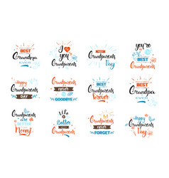 Happy grandparents day greeting card banners set vector