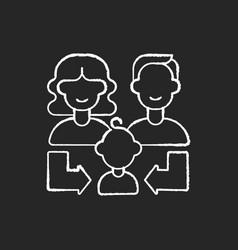 Heredity chalk white icon on black background vector